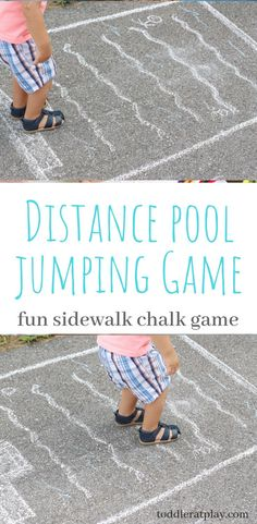 "This is a fun outdoors activity for young children. All you need is chalk! Jumping is fun and with this ""pool"" kids jump from the diving board to see who can jump the furthest! Gross Motor Activities, Movement Activities, Indoor Activities For Kids, Games For Toddlers, Preschool Games, Outdoor Activities, Toddler Games, Therapy Activities, Preschool Ideas"