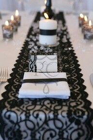 Black lace table runner