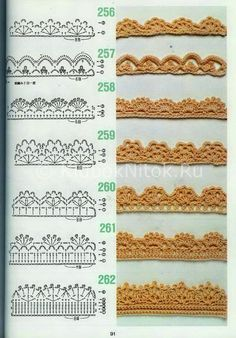 free crochet patterns for crochet borders Crochet Edging Patterns, Crochet Lace Edging, Crochet Motifs, Crochet Borders, Crochet Diagram, Crochet Chart, Crochet Trim, Filet Crochet, Diy Crochet