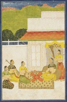 LADIES PLAYING PACHISI 1780.. Mughal India..