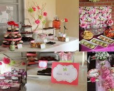 Whimsy & Wise Events: Pink & Brown Garden Baby Shower  Flowers, candy station, centerpieces, dessert, butterfly baby shower