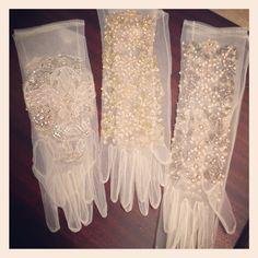 New sheer beaded gloves by Badgley Mischka. Retro chic!