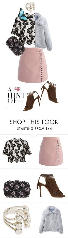"""Long Day"" by honeyberrie ❤ liked on Polyvore featuring Monique Lhuillier, Chicwish, Natasha and Aquazzura"