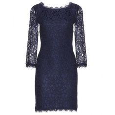 Diane von Furstenberg Zarita Lace Dress (£310) ❤ liked on Polyvore featuring dresses, blue, diane von furstenberg, lacy dress, blue lace cocktail dress, blue dress and blue lace dress