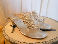 Vintage  shoes 1960s sandals silver leather  by BornToShopVintage, $25.99