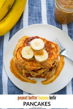 These whole-wheat peanut butter banana kefir pancakes are light and fluffy, sweet and satisfying. The classic peanut butter and banana combo makes this a perfect breakfast for the whole fam to enjoy.