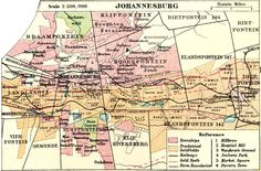 Johannesburg map South Africa, now fully restored. | Vintage maps
