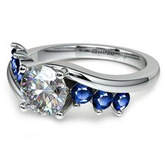 Swirl Style Sapphire Gemstone Engagement Ring in White Gold | Image 04