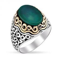 Yeşil Akik Taşlı Erkek Yüzük Modeli #gümüş #gümüşyüzük #erkekyüzük #taşlıyüzük #gümüşerkekyüzük #silver #moda #trendy
