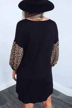 Lepard Print Black Mini Dress – Stylnbo Fall Dresses, Pretty Dresses, Casual Dresses, Summer Dresses, Colorful Fashion, Boho Fashion, The Dress, Dress Patterns, Vintage Dresses