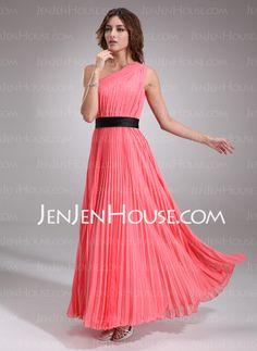 Prom Dresses - $122.99 - A-Line/Princess One-Shoulder Floor-Length Chiffon Prom Dresses With Ruffle Beading (018004787) http://jenjenhouse.com/A-Line-Princess-One-Shoulder-Floor-Length-Chiffon-Prom-Dresses-With-Ruffle-Beading-018004787-g4787