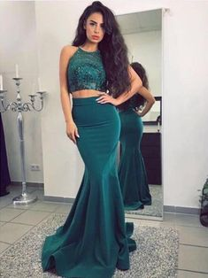2018 Two Pieces Mermaid Prom Dresses Spaghetti Straps Long Prom Dress Evening Dresses AMY271