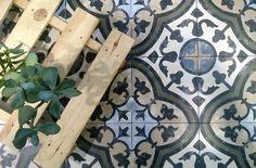 Patterned Moroccan inspired floor tiles from Spain.  Amazing glazed porcelain replica tiles.  On display at Kalafrana Ceramics Sydney.
