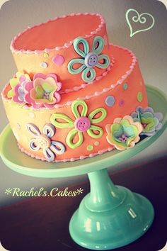 I love the pretty colors and playful design of this cake - by Rachel's Cake