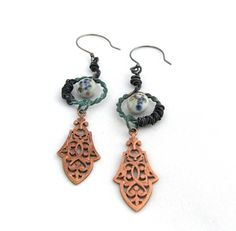Cynosure  Assemblage Dangle Earrings with by NuminosityBeads, $46.00