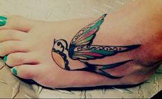 sparrow tattoo on toe