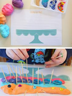 Free Printable Play Dough Mats (They make great place mats too! Playdough Activities, Toddler Activities, Activities For Kids, Kids Crafts, Diy And Crafts, Play Doh Party, All About Me Preschool, Diy For Kids, Kids Playing