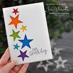 Say it with Stars. Happy Birthday - Card created using Stitched Stars Dies from Stampin' Up!® by Sue Vine - Creative Birthday Cards, Homemade Birthday Cards, Masculine Birthday Cards, Kids Birthday Cards, Homemade Cards, Happy Birthday Handmade Cards, Scrapbook Birthday Cards, Birthday Crafts, Pink Crafts