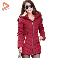 Promotions Women's Hooded Cotton Jacket Winter 2015 Long Down Cotton Coat Slim Hit Color Outdoor Parka 8 Color Plus Hot Selling