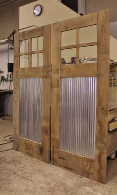 MADE TO ORDER Rustic Barn Door - Sliding Barn Door w/Barn Tin #9376 Dimensions 36 Wide x 85 H (3/4 to 1-1/2 thickness) Window: Lexan - Clear Polycarbonate ****CUSTOM SIZES AVAILABLE***** **The price stated is for the exact dimensions listed above. EACH ITEM IS CUSTOM BUILT AND CAN BE FULLY CUSTOMIZED TO YOUR TASTE OR STYLE . Any changes will affect both the price and the shipping. Please contact us for any changes or shipping questions. Materials: Reclaimed Rustic Barn Wood & Metal SH...