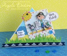 Free Standing Easel Pirate Birthday Card - Whiz Kids Collection by design team member Angela Birthday Flags, Pirate Birthday, Happy Birthday, Crafts To Do, Crafts For Kids, Pirate Cat, Belle And Boo, Simple Birthday Cards, Craftwork Cards