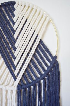 The Duo // Macramé Wall Hanging on Gold Hoop with Custom Color / Indigo Blue / Modern Dream Catcher Macrame Wall Hanging Diy, Ideias Diy, Macrame Design, Macrame Projects, Macrame Patterns, Diy Wall Decor, Diy Crafts To Sell, Dream Catcher, Balance Design