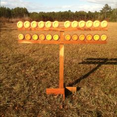 Clay target holder- not an archery target but great idea for fun & I didn't feel like creating a new board. Skeet Shooting, Shooting Guns, Shooting Sports, Outdoor Shooting Range, Shooting Table, Airsoft, Shooting Bench Plans, Pistol Targets, Range Targets