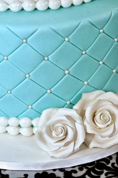 """Lauri from The Sweet Little Party Company styled this Tiffany inspired party as told by Lauri """"This was a very special event for my lovely sister in law Teresa who turned Tiffany Cakes, Tiffany Theme, Tiffany Party, Tiffany And Co, Australia Cake, Candy Buffet Signs, Rock Candy Sticks, White Birthday Cakes, Cupcake Supplies"""