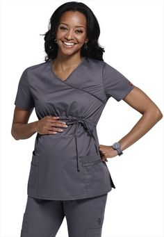 Dickies Gen Flex mock-wrap maternity scrub top.