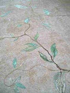 SK Sartell's carved and acid stained concrete. Using existing cracks to save a old patio.  #stained concrete#concrete stain