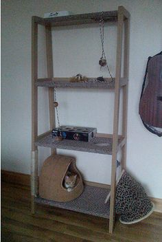 DIY Cat Tower Shelf If only Alley Cat had claws...