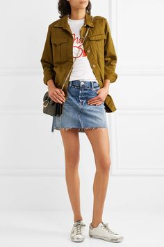 dd19837dc1f FRAME - Nouveau Le Mini Mix Distressed Denim Skirt - Mid denim