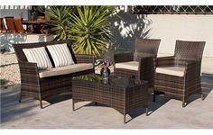 CONJUNTO DE RATTAN TRÍPOLI. Set de ratán sintético o huitex formado por sofá de 2 plazas, 2 sillones, mesa de centro y cojines.
