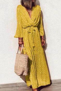 Damen Sommerkleid Boho Lang Kleid Maxikleid V-Ausschnitt Partykleid Strandkleid Long Sleeve Maxi, Maxi Dress With Sleeves, V Neck Dress, The Dress, Sunny Dress, Dress Vestidos, Day Dresses, Long Dresses, Beach Dresses
