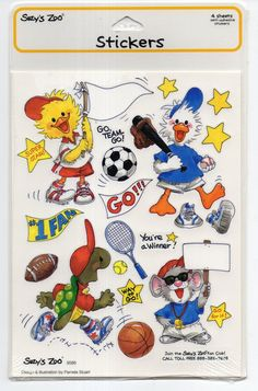 Vintage Suzy's Zoo Stickers, ADORABLE SPORTS ANIMALS, New & Sealed, Scrapbooking | eBay