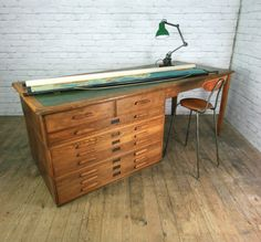 Vintage Industrial Oak Architect Plan Chest Desk Shop Display Table Kitchen