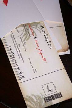 Destination Wedding Boarding Pass Wedding Invitations, Vintage Palm Tree