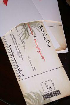 Destination Wedding Boarding Pass Wedding Invitations, Vintage Palm Tree
