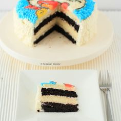Doraemon Cake /  Black and White Layer Cake with Vanilla Buttercream Frosting