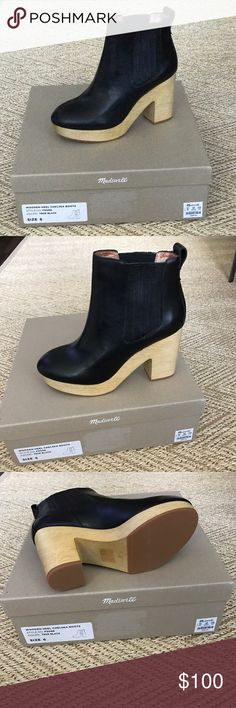 Madewell Chelsea boots Gorgeous wooden heel Chelsea boot. I am a size 5.5 (around a 5-5.5) and really wanted to make it work but it is a true size 6. I'd say if you teeter between a 5.5-6 you could also make this 6 work. Madewell Shoes Ankle Boots & Booties