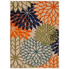 Nourison, Aloha Multicolor 5 ft. 3 in. x 7 ft. 5 in. Indoor/Outdoor Area Rug, 242723 at The Home Depot - Mobile