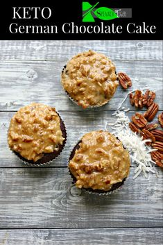 Gf Keto German Chocolate Cake, round or 12 cupcakes). from Spinach Tiger Sugar Free Desserts, Low Carb Desserts, Low Carb Recipes, Dessert Recipes, Free Recipes, German Chocolate Frosting, Chocolate Cake, Bratwurst, Food Styling