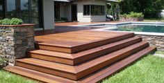 Wide timber patio steps