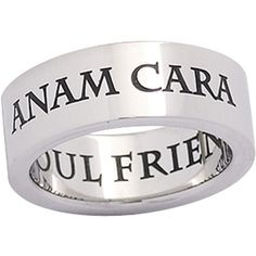"Anam Cara Ring for all the kids. When they're everything to you and more, let them know with this Celtic phrase. Band is crafted of solid Stainless Steel and inscribed with the Gaelic words ""Anam Cara"" with the meaning Soul Friend inscribed on the underside."