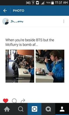 This guy is going to be famous for not knowing he was sitting beside famous people! Ummmmmmm bts McFlurry McDonald's Namjoon, Kookie Bts, Bts Bangtan Boy, Hoseok, Taehyung, Jimin, Bts Memes, Exo, Chanyeol