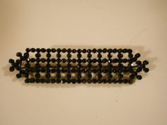 VERY VICTORIAN MOURNING PIN SET WITH SPARKLING GLASS JET BEADS OPENWORK DESIGN