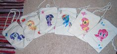 My Little Pony Purse on a String Bags. Perfect little bags for holding your keys, money, ID, phone and what have you. $8 each. Can do any character you like that I have available. Check out my Etsy for more! Characters here: Rarity, Applejack, Twilight Sparkle. Rainbow Dash, Fluttershy and Pinkie Pie!