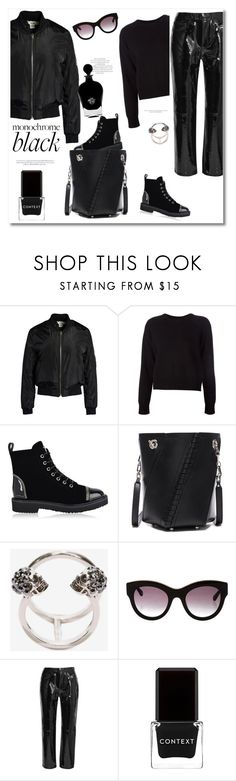 """""""Get the look Monochrome"""" by vkmd ❤ liked on Polyvore featuring Sans Souci, T By Alexander Wang, Giuseppe Zanotti, Proenza Schouler, Alexander McQueen, STELLA McCARTNEY, rag & bone, Context, EB Florals and allblack"""