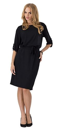 U-shot Damen Rundhalsausschnitt Büro Geschäft Tunika Kleid  Amazon.de   Bekleidung 705c104e23