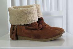 Nine West Brown Suede Leather Boots Tassle Faux Fur Fold Down Up Women's 9 M…